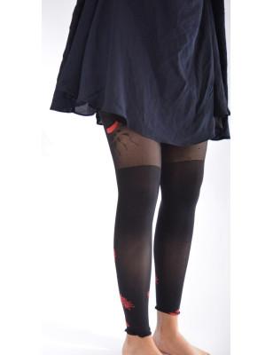 Collant sans pieds Fleurs d'agapanthe Noir rouge