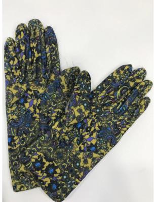 Gants femme fantaisie en polaire imprimé de fleurs jaunes ixli