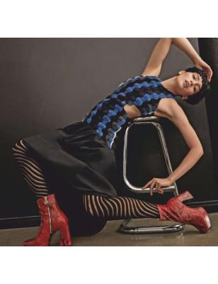 Collant opaque Tendance noir avec motif Zebre concentrique