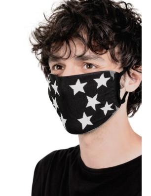Masques barrières anti covid unisex noirs étoiles