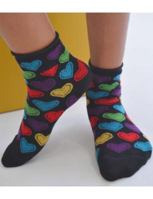 chaussettes noires coeurs multi