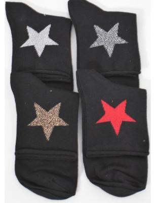 Chaussettes non comprimantes coton étoiles argentées