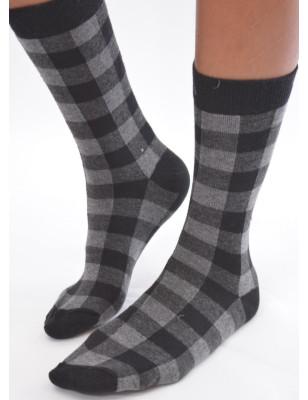 chaussettes carreaux rigolos noirs