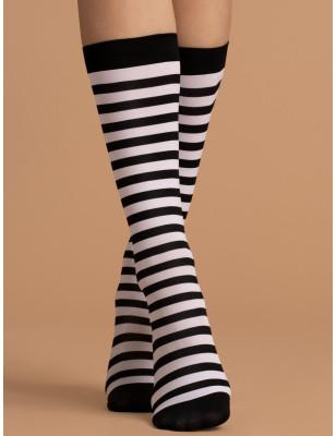 Chaussettes Micrifibre rayures Noires et blanches