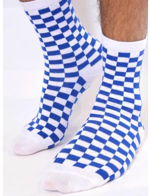 chaussettes bleus blancs carreaux
