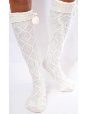 Chaussettes laine torsadées pompom