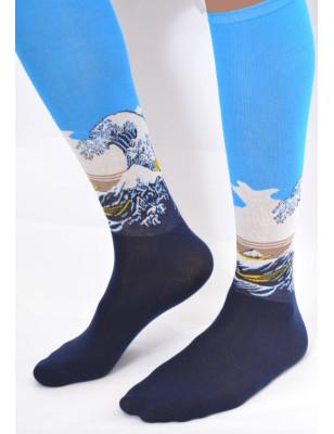 Chaussettes artiste célébre Hokusai la vague