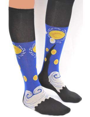 chaussettes fantaisie d'après le tableau de la nuit de van Gogh