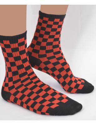 Chaussettes bicolores noires rouges Les Petits Caprices