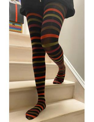 Collant opaque rayures Noir rouge kaki
