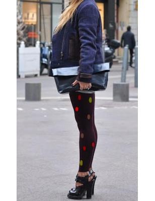 Collant noir opaque sans pieds pois de couleurs