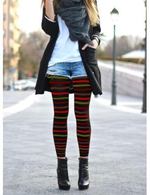 Collant opaque noir sans pieds rayures multicouleurs
