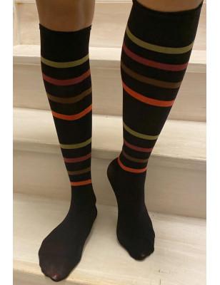 Chaussettes Lycra à rayures de couleurs