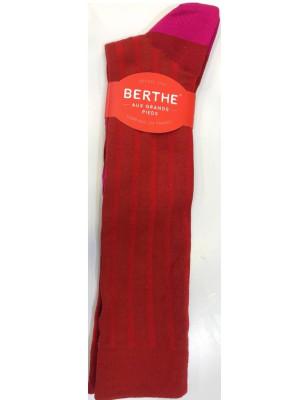 Mi bas Rouge coton et soie Berthe aux grands pieds