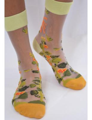 Chaussettes Fleurs Tropicales Transparentes