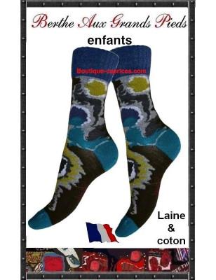 Chaussettes Camo Bleu Berhe aux grands pieds enfants