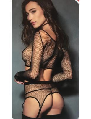 ensemble lingerie resille T shirt porte jarretelle string