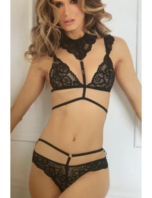 Ensemble lingerie sexy en dentelle plongeant