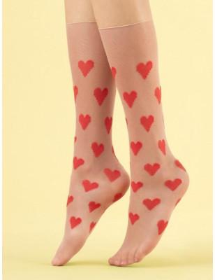 Chaussettes à coeurs Fines...
