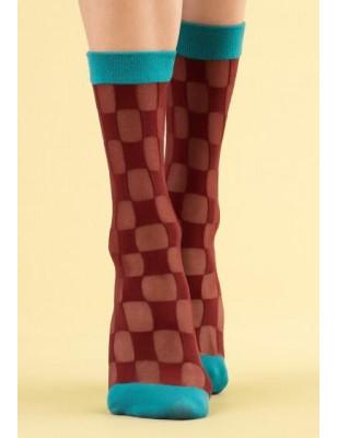 Chaussettes Fiore à carreaux bordeaux