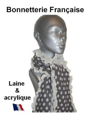 Echarpe laine Pois Gris blanc