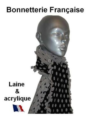 Echarpe laine Pois Noir Gris