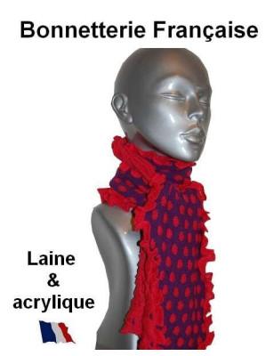 Echarpe laine violette pois rouges