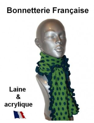 Echarpe laine verte pois bleus