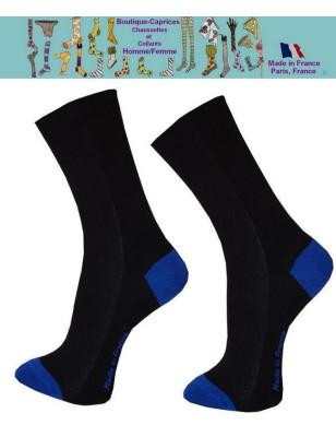 Chaussettes noires homme fil Bi colores bleues
