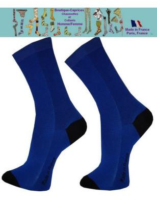 Chaussettes bleues homme fil Bi colores noires