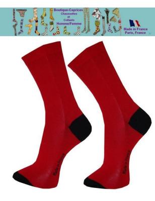 Chaussettes rouges homme fil Bi colores noires
