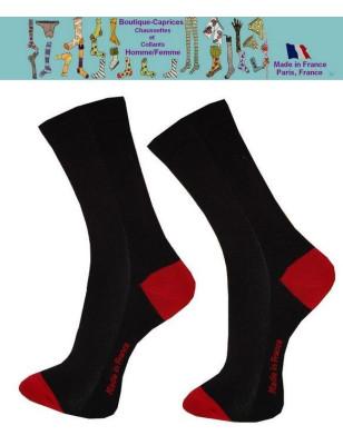 Chaussettes Noires homme fil Bi colores rouges