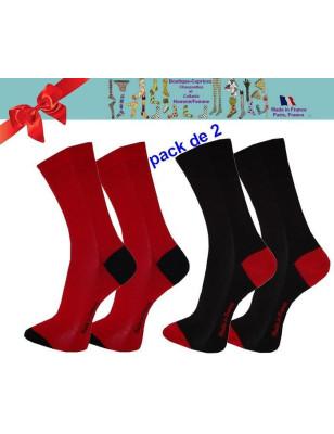 Chaussettes homme fil Bi colores noires rouge pack de 2