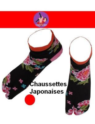 Chaussettes japonaise femme fleurs orange