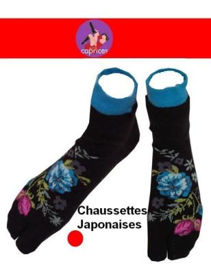 Chaussettes japonaise noire petites fleurs bleues