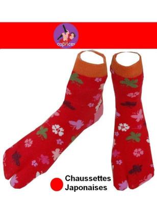 Chaussettes Japonaise Femme fleurs et trefles