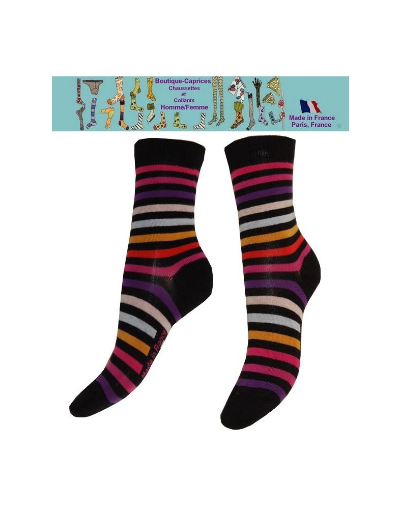 Chaussettes Femme les Petits Caprices rayures roses