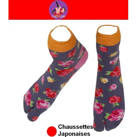 Chaussettes japonaises Coton grises à fleurs