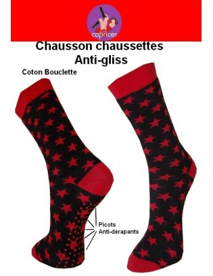 Chaussons chaussettes les petits caprices étoiles rouges