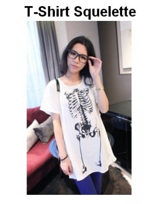 T-Shirt Halloween Squelette Blanc