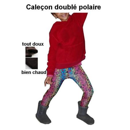 Caleçon enfant doublé polaire léopard psychédélique