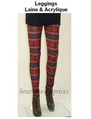 Leggings laine acrylique Noway rouge