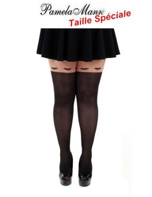 Collant Pamela Mann taille spéciale effet jambières et coeurs