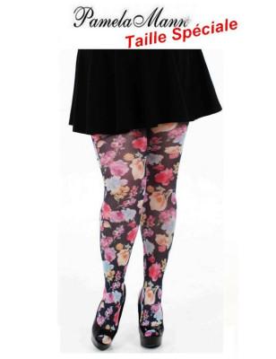 collant Pamela Man  taille spéciale pretty flowers