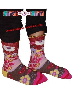 chaussettes fil  de joie bouquet fleuri rose et taupe