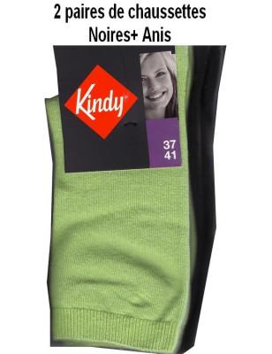 Kindy Lot de Chaussettes unies en coton Femme