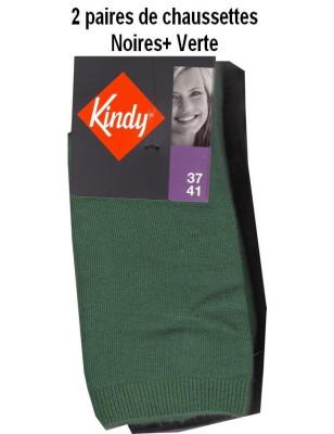 Kindy Lot de Chaussettes unies en coton Femme vert