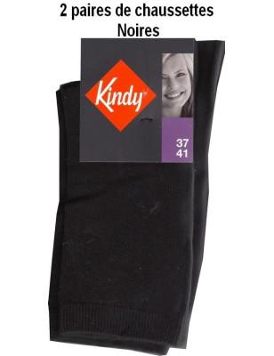 Kindy Lot de Chaussettes unies en coton Femme noires
