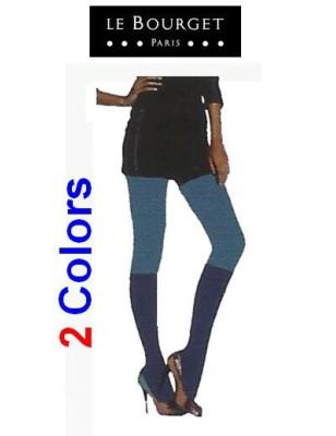 Collant Bi colors effet Mi-Bas Cobalt