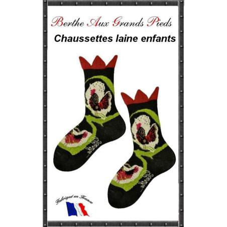 Chaussettes Layette en laine Berthe aux grands pieds coq